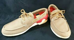 Crocs Mens Beach Line Lace-Up Boat Shoes Canvas Rubber Tan Red Size 13