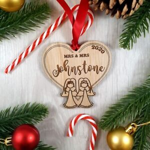 Personalised First Wooden Christmas Mrs Mrs Bauble Tree Decoration Wedding LGBTQ