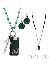"30"" Bullet Charm Cross Western Dogtag Necklace Earrings Patina Turquoise Blue"