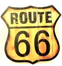 Route 66 Rt 66 Wood Wall Decor Rustic Distressed New 15 x 15 1/2 inches