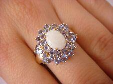BEAUTIFUL, TANZANITE & OPAL LADIES COCKTAIL RING, 10K YELLOW GOLD 4.8 GRAMS