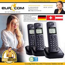 GRUNDIG D1115 TRIO schnurlos DECT Festnetz Telefon Anrufbeantworter 3 Mobilteile