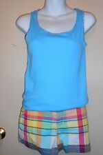 Limited Too Plaid Stretch Shorts Multi 18 + Embellished Tank Top Blue 18 NWT
