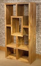 Mantis Cube Bookcase Solid Light Mango Wood Room Divider Natural Dakota Shelving