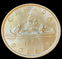 1955 Uncirculated $1 Canada Silver Dollar PL .800 Silver • Full Water Lines (4)