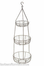 Kitchen Craft Living Nostalgia Large 3 Tier Hanging Vegetable Storage Baskets