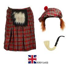 Mens SCOTTISH COSTUME Scotsman Tartan Hat Kilt Hair Burns Night Fancy Dress UK