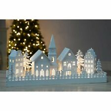 Warm White LED Illuminated Wooden Church Scene Xmas Christmas Decoration Gift