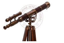 Double Barrel Leather Telescope with Tripod Stand.
