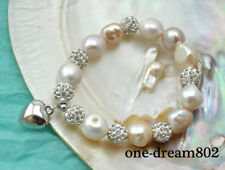 Stretch 15mm white pink baroque freshwater pearl bracelet 8inch