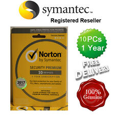 Norton ( Internet ) Security Antivirus All In ONE 10 PCs 1 Year Retail 2017 UK
