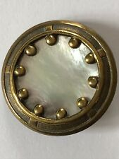 Art Nouveau Shimmering Mother Of Pearl Set In An Antique Metal Button 27mm