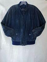 Rock Creek Uni-sex Suede Leather Bomber Jacket Blue Zip Pockets Lined Filler M