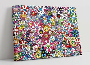 MURAKAMI FLOWERS 4 CANVAS WALL ART FLOAT EFFECT/FRAME/PICTURE/POSTER PRINT-PINK