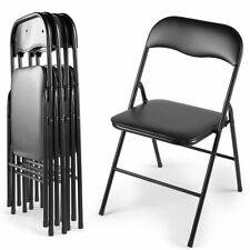 5 PCS Plastic Folding Chairs Commercial Wedding Party Event Stack-able Black