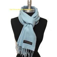 NEW Men Women 100% CASHMERE SCARF SCOTLAND SOFT Warm Wool Wrap Solid Light Blue