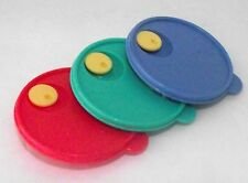 Tupperware Rubber Lids Refrigerator Magnet Colorful Red Green Blue Collectible