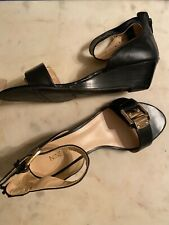 Nine West Black 6 Wedge Sandals Varsha Leather New