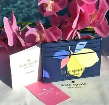 🌸 Kate Spade Cameron Lemon Zest Slim Card Holder Wallet Leather Riverblue New