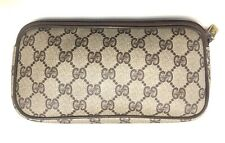 """Vintage 8"""" GUCCI Canvas Zipper Clutch Toiletry Cosmetic Travel Hand Bag"""