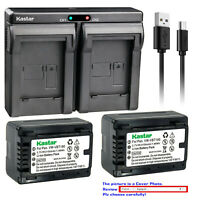 Kastar Battery Dual USB Charger for Panasonic VW-VBT190 VBT190 VW-VBT380 VBT380