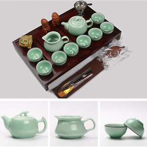 TeaSet Drinkware ceramic include TeaPot Cup Tureen Infuser Natural wood Tea Tray