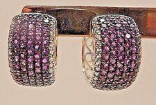 Micro Pave Earrings Sterling Silver 925 Purple Huggie Pierced