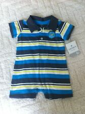 Carters 6 Months Baby Boys Blue Yellow Gray Stripe One Piece Romper NWT Summer