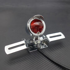 Chrome Tail Brake Light Plate For Cafe Racer Bobber Choppers Sport Bike Custom