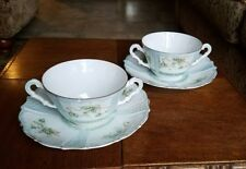 Pair (2) of Hermann Ohme Cream Soup or Boullion Cups & Saucer sets
