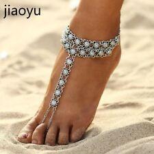 Silver Color Tassel Barefoot Sandals A Bohemian Vintage Flower Anklets For Women