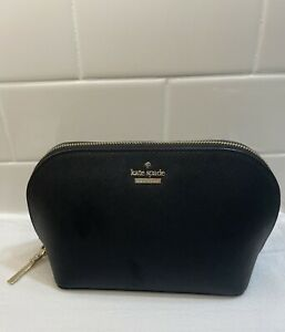 Kate Spade Small Cosmetic Pouch Bag - Black. Gold Hardware
