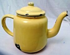 VINTAGE TEA POT ENAMELWARE COLLECTIBLES KITCHENWARE WITH LID MADE CHINA COOKWARE
