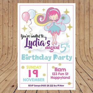 Personalised FAIRY Magic Girls Party Invitations Invites DIGITAL - YOU PRINT -