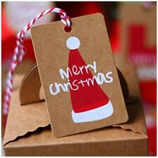 50Pcs Christmas Hat Kraft Paper Gift Tags Scallop Label Luggage Blank + Strings