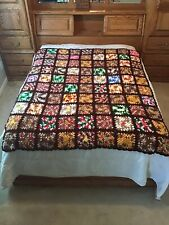 "Vintage Crochet Granny Chic Squares 72x78"" Handmade Quilt Afghan Fall Colors Gc"