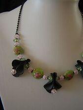 Necklace, Rubber innertube & glass beads - Green, Pink & Black