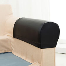 2pcs Sofa Armrest Cover Armchair Slipcovers Couch Arm PU Protector Black
