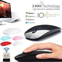portable souris sans fil avec récepteur usb ordinateur pc ultra - mince 2.4ghz