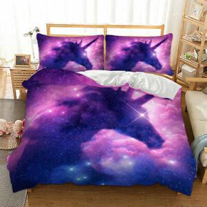 Starry Dreamy Unicorn 3D Bedding Set Duvet Cover Pillowcase Single Queen Gift