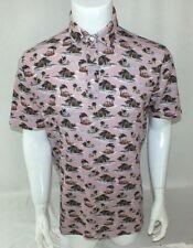 Mens Altea Luxury Polo Pique Shirt Hawaiian Surfer Beach Palms Light Pink sz M