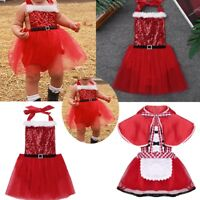 Infant Baby Girls Xmas Outfits Shiny Tulle Dress Santa Romper Christmas Costume