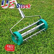 Lawn Spike Aerator Garden Outdoor Rolling Grass Steel Roller Aluminum Handle US