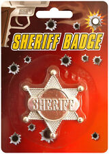 Sheriff's Badge 6cm in Silver Western Cowboy Cowgirl Police Fancy Dress