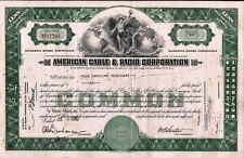Stock Certificate American Cable & Radio Corporation stock certificate, cancelle