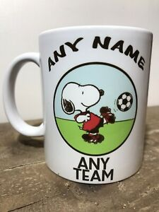 Personalised Snoopy Football Coffee Tea Mug Cup Any Football Team Any Name