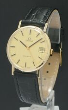 MINT  ORIGINAL SOLID 9CT GOLD OMEGA GENEVE WITH DATE PAPERWORK MENS WATCH C1974