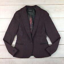 $235 Maison Scotch 1 Small Burgundy Jacquard Tailored Perfect Fit  Blazer Jacket