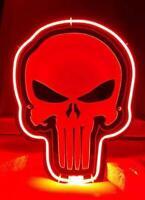Punisher Skull 3D Carved Real Neon Sign Bed Room Home Decor Beer Bar Light