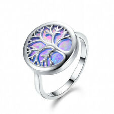 Party Tree of life Rainbow Fire Blue Opal Gemstone Silver Woman Ring Size 6-10